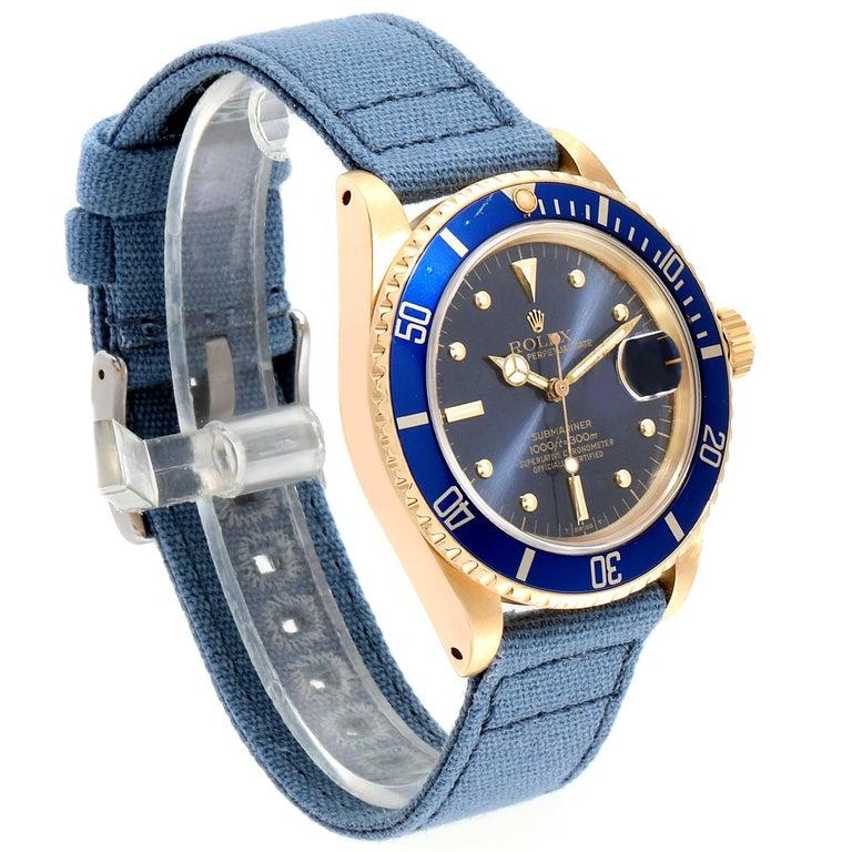 Rolex Submariner 18 Karat Yellow Gold Blue Dial Men's Watch 16808 1