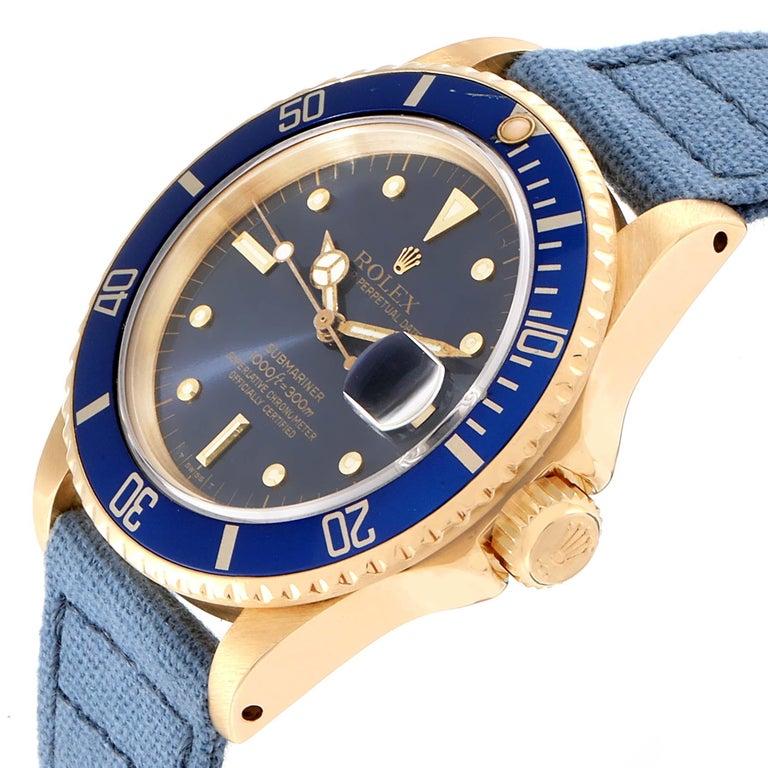 Rolex Submariner 18 Karat Yellow Gold Blue Dial Men's Watch 16808 2