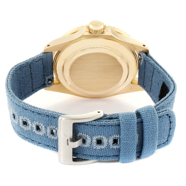 Rolex Submariner 18 Karat Yellow Gold Blue Dial Men's Watch 16808 6
