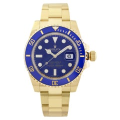 Rolex Submariner 18K Yellow Gold Ceramic Blue Dial Automatic Mens Watch 116618LB