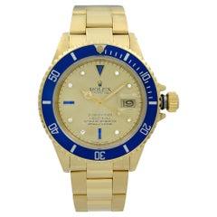 Rolex Submariner 18K Yellow Gold Serti Dial Diamond Sapphire Men's Watch 16808