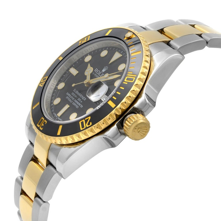 Rolex Submariner 18k Yellow Gold Steel Black Dial Automatic Men Watch 116613BKDO In Excellent Condition For Sale In New York, NY