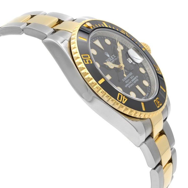 Men's Rolex Submariner 18k Yellow Gold Steel Black Dial Automatic Men Watch 116613BKDO For Sale