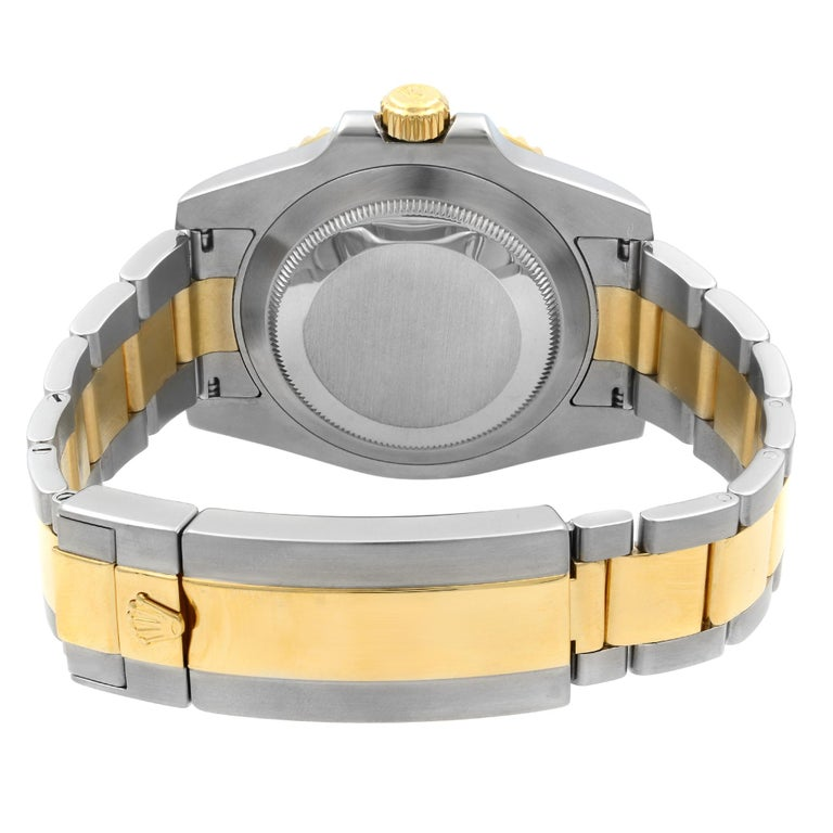 Rolex Submariner 18k Yellow Gold Steel Black Dial Automatic Men Watch 116613BKDO For Sale 2