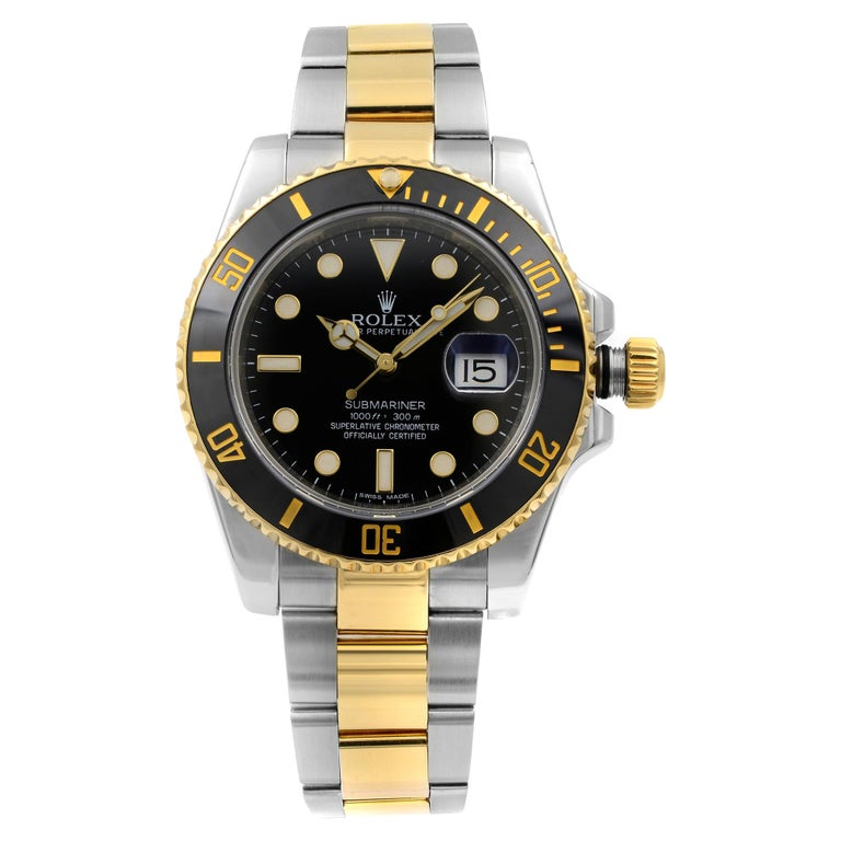 Rolex Submariner 18k Yellow Gold Steel Black Dial Automatic Men Watch 116613BKDO For Sale