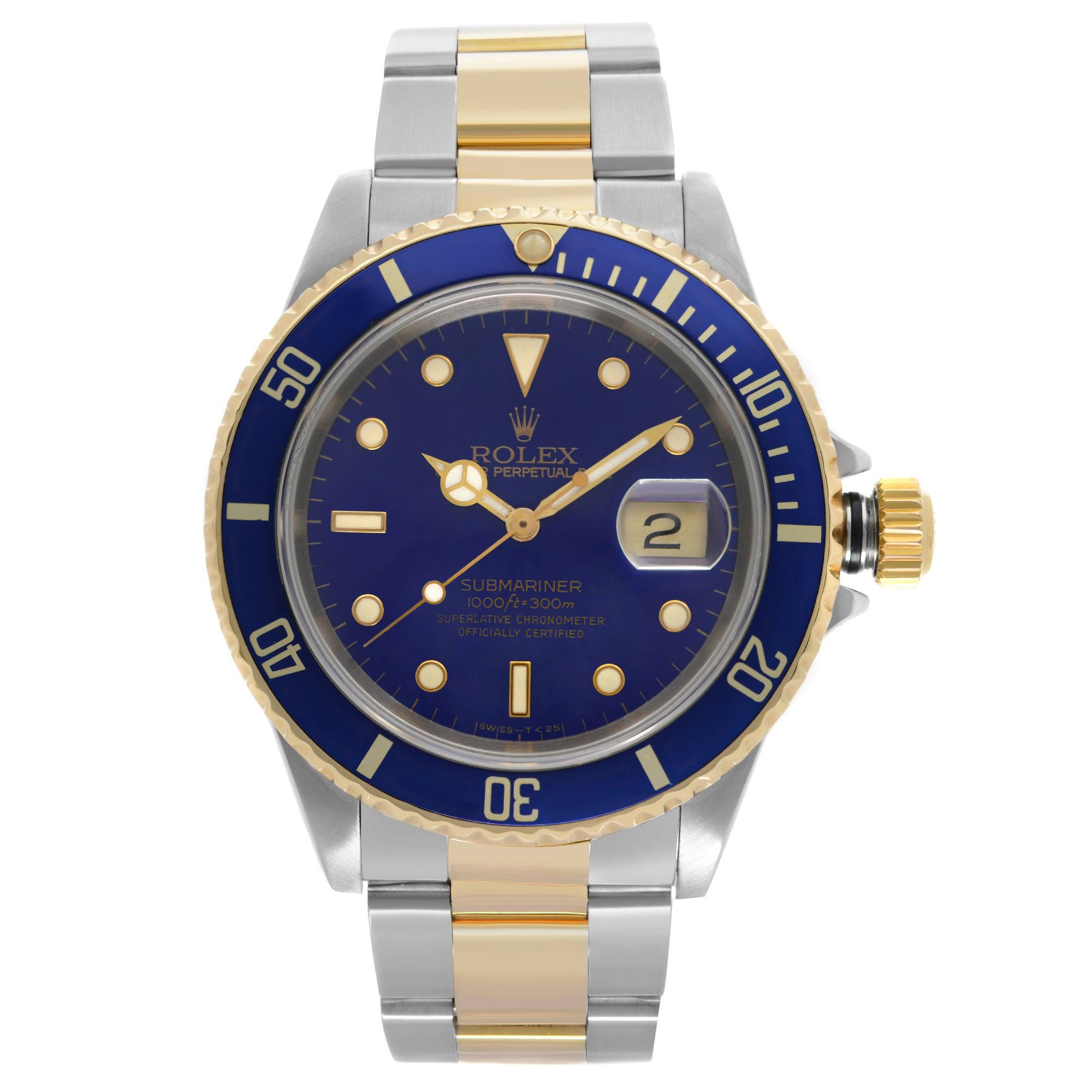 Rolex Submariner 18k Yellow Gold Steel Blue Dial Automatic Mens Watch 16613