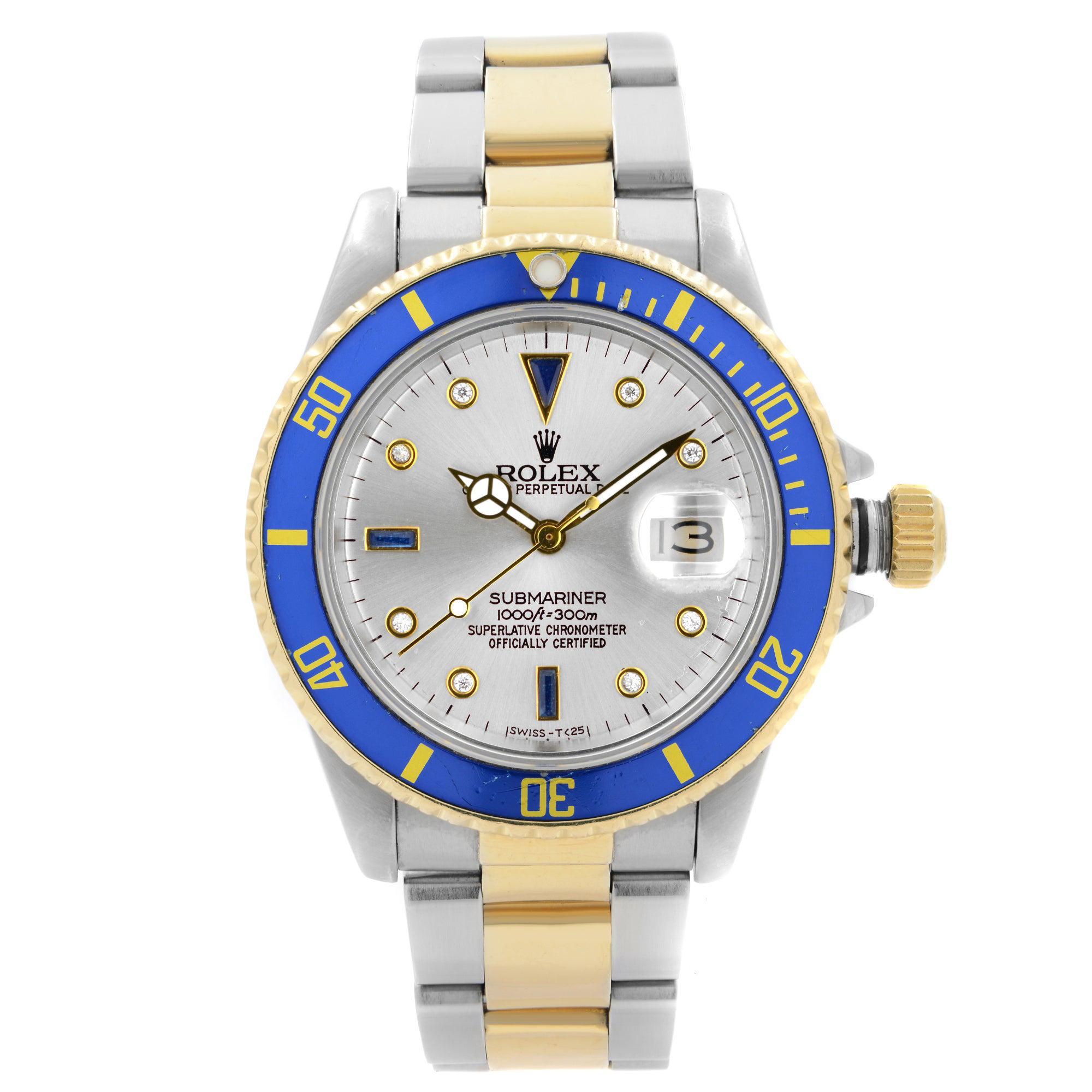Rolex Submariner 18k Yellow Gold Steel Serti Dial Automatic Men Watch 16803