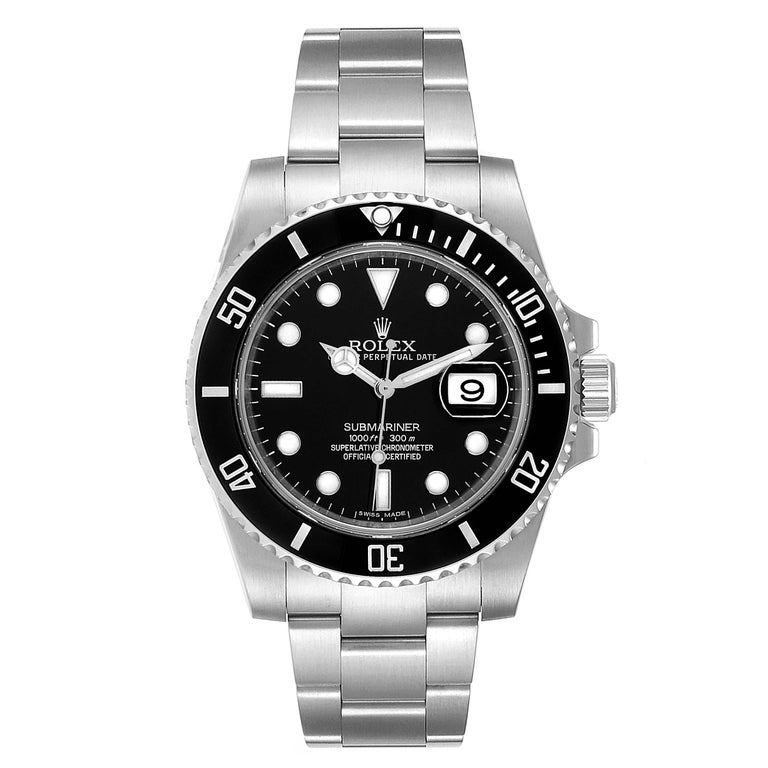 Rolex Submariner 40 Cerachrom Bezel Black Dial Watch 116610 Box Card. Officially certified chronometer self-winding movement. Stainless steel case 40 mm in diameter. Rolex logo on a crown. Unidirectional rotating black ceramic bezel with 60 minutes