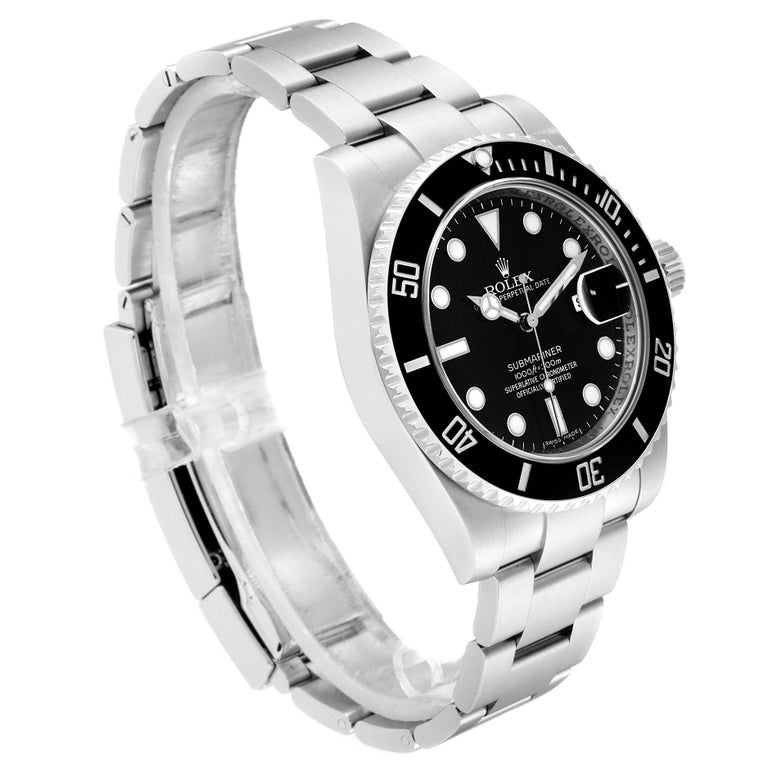 Rolex Submariner 40 Cerachrom Bezel Black Dial Watch 116610 Box Card In Excellent Condition For Sale In Atlanta, GA