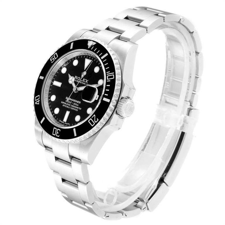 Men's Rolex Submariner 40 Cerachrom Bezel Black Dial Watch 116610 Box Card For Sale