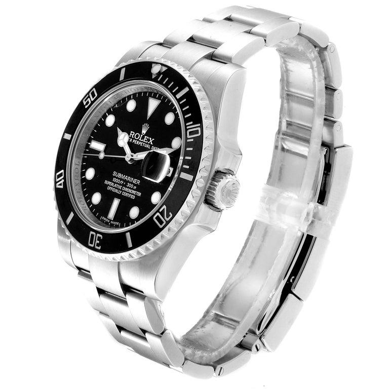 Men's Rolex Submariner 40 Cerachrom Bezel Black Dial Watch 116610 Box Card