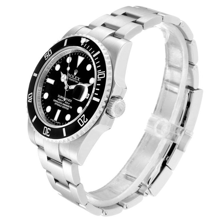 Men's Rolex Submariner 40 Cerachrom Bezel Black Dial Watch 116610 Box Card For Sale