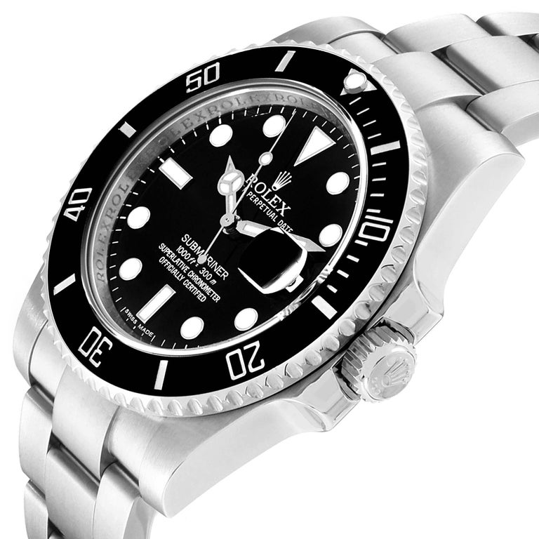 Rolex Submariner 40 Cerachrom Bezel Black Dial Watch 116610 Box Card For Sale 1