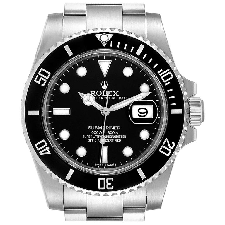 Rolex Submariner 40 Cerachrom Bezel Black Dial Watch 116610 Box Card For Sale