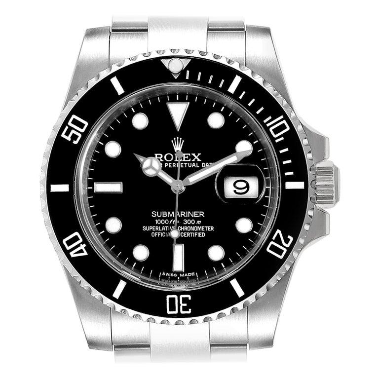 Rolex Submariner 40 Cerachrom Bezel Black Dial Watch 116610 Box Card For Sale