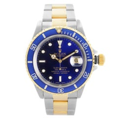 Rolex Submariner 18k Gold Steel Blue Dial Automatic Mens Watch 16613