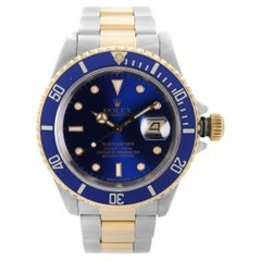 Rolex Submariner 18K Yellow Gold Steel Blue Dial Mens Automatic Watch 16613