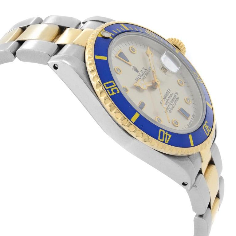 Men's Rolex Submariner 18k Yellow Gold Steel Serti Dial Automatic Men Watch 16803