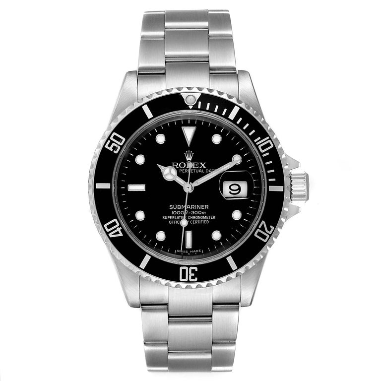 Rolex Submariner 40mm Black Dial Steel Mens Watch 16610 Box. Officially certified chronometer self-winding movement. Stainless steel case 40.0 mm in diameter. Rolex logo on a crown. Special time-lapse unidirectional rotating bezel. Scratch resistant