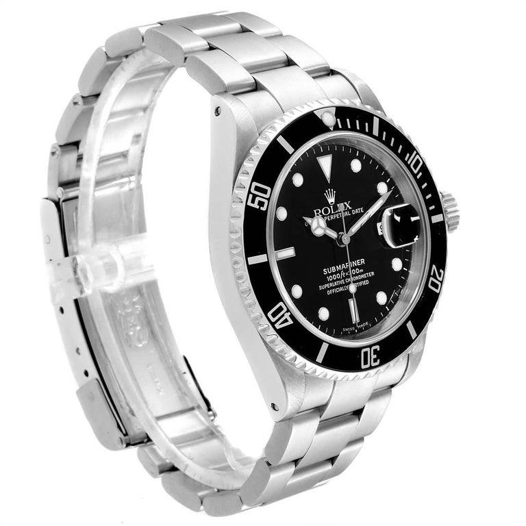 Rolex Submariner Black Dial Steel Men's Watch 16610 Box In Excellent Condition In Atlanta, GA