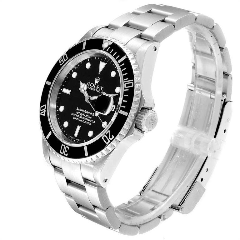 Men's Rolex Submariner Black Dial Steel Men's Watch 16610 Box