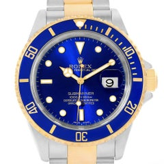 Rolex Submariner Blue Dial Steel Yellow Gold Men's Watch 16613