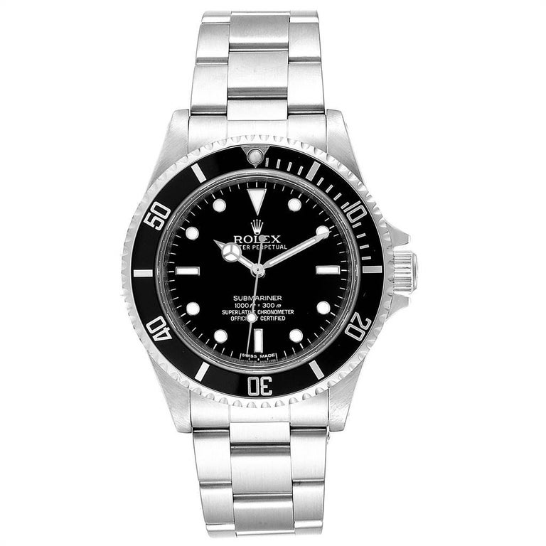 Rolex Submariner 40mm Non-Date 4 Liner Steel Steel Mens Watch 14060. Automatic self-winding movement. Stainless steel case 40.0 mm in diameter. Rolex logo on a crown. Special time-lapse unidirectional rotating bezel. Scratch resistant sapphire