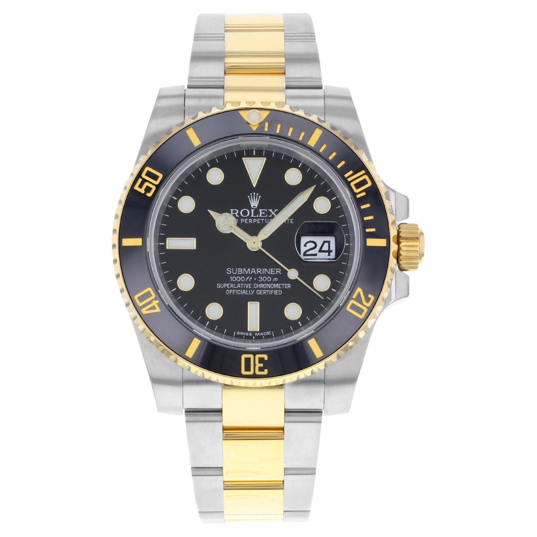 Rolex Submariner Steel 18k Yellow Gold Black Dial Mens Watch 116613LN