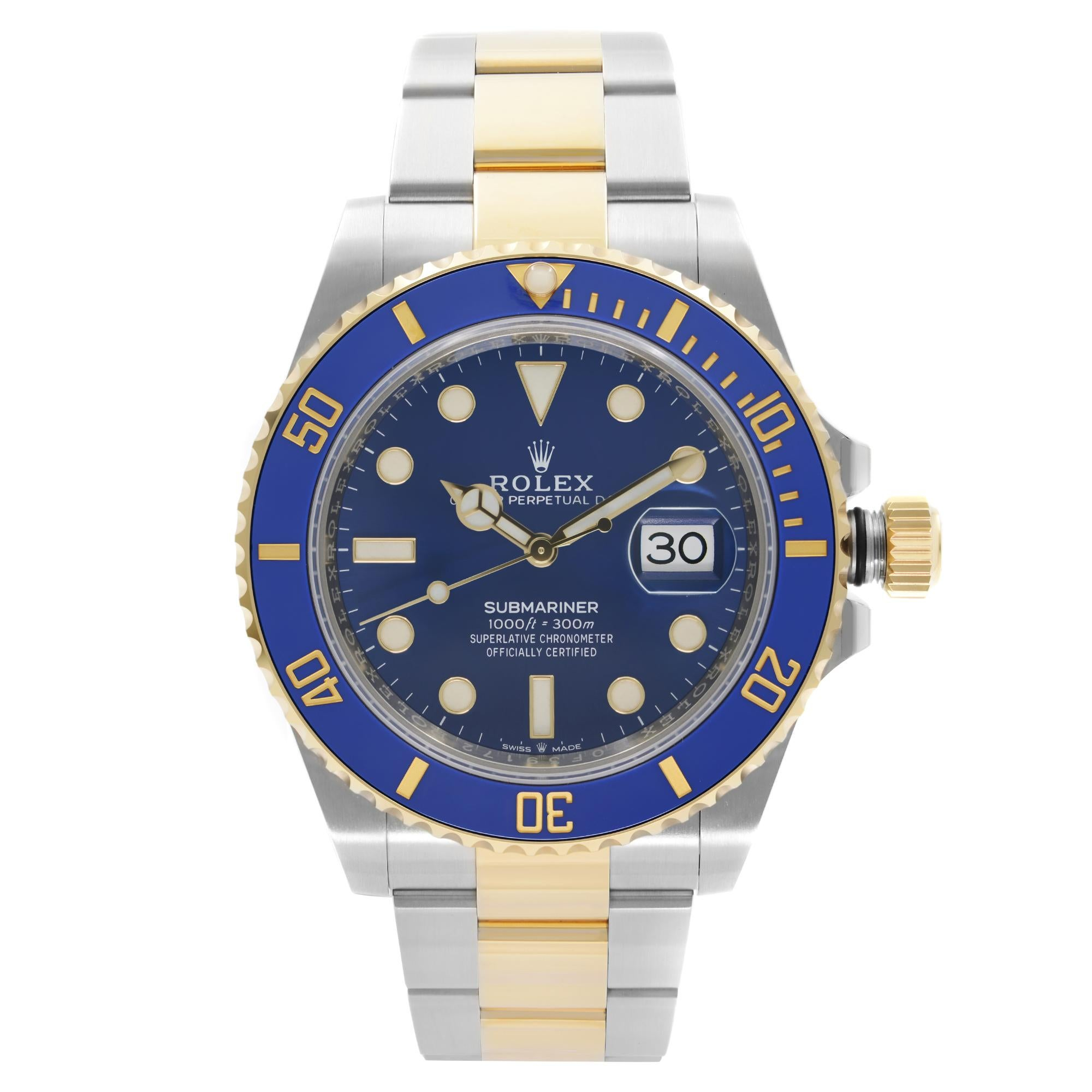 Rolex Submariner Steel 18K Yellow Gold Blue Dial Automatic Watch 126613LB