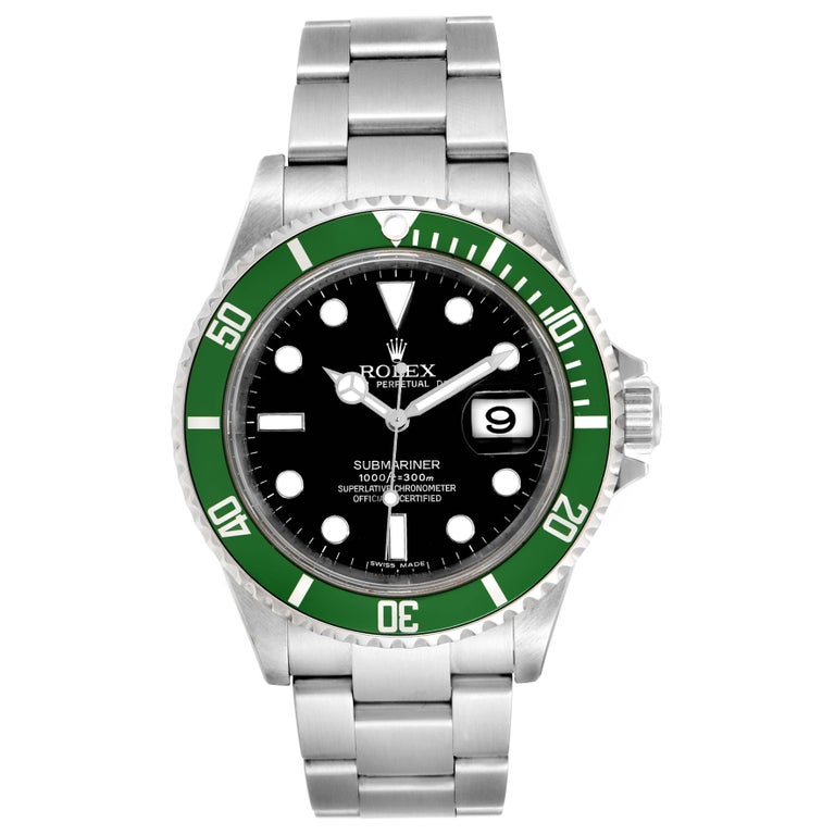 Rolex Submariner 50th Anniversary Green Kermit Mens Watch 16610LV. Officially certified chronometer self-winding movement. Stainless steel oyster case 40 mm in diameter. Rolex logo on a crown. Special time-lapse unidirectional rotating bezel with