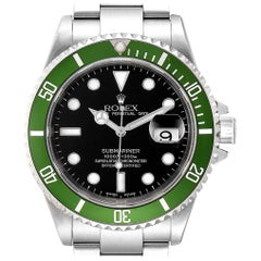 Rolex Submariner 50th Anniversary Flat 4 Green Kermit Watch 16610LV Box Papers