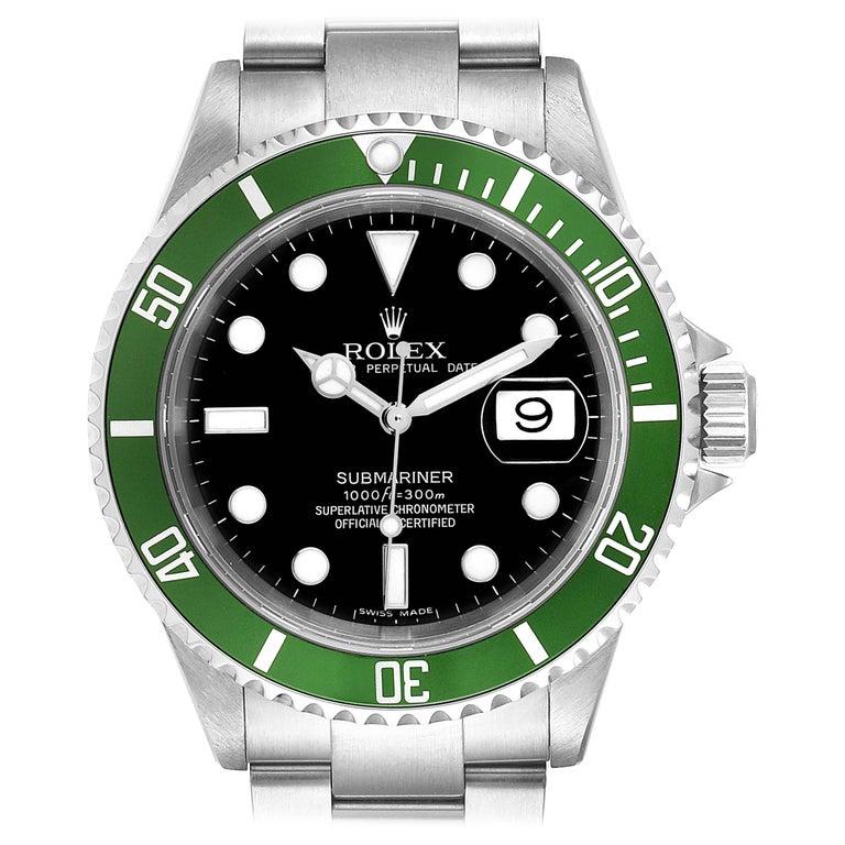 Rolex Submariner 50th Anniversary Green Kermit Men's Watch 16610LV For Sale