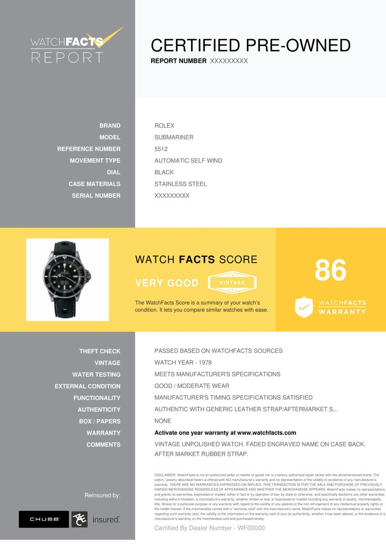 Rolex Submariner Reference #: 5512. Mens Automatic Self Wind Watch Stainless Steel Black 40 MM. Verified and Certified by WatchFacts. 1 year warranty offered by WatchFacts.