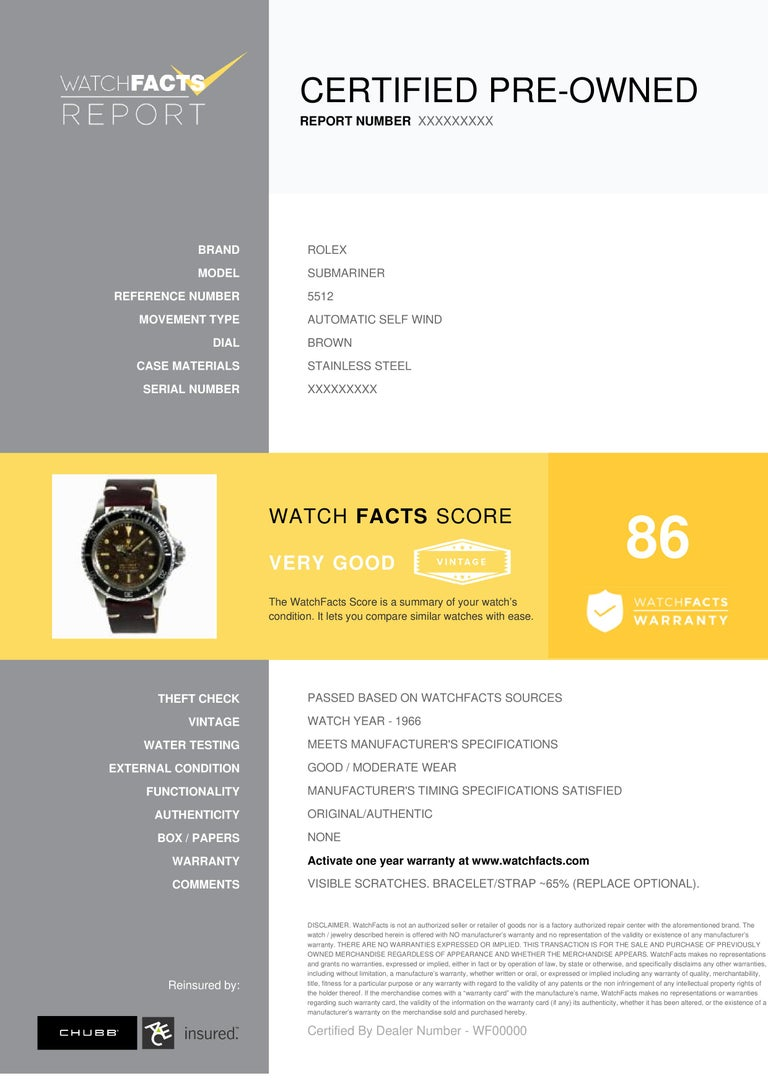 Rolex Submariner Reference #: 5512. Mens Automatic Self Wind Watch Stainless Steel Brown 40 MM. Verified and Certified by WatchFacts. 1 year warranty offered by WatchFacts.