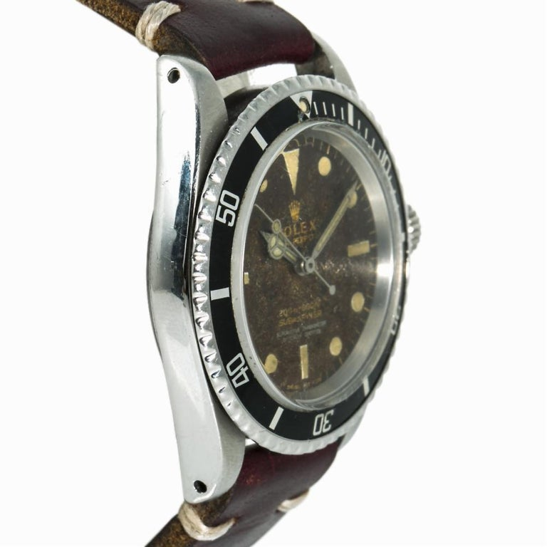 Modern Rolex Submariner 5512 Men's Automatic Vintage Watch Tropical Gilt Dial For Sale