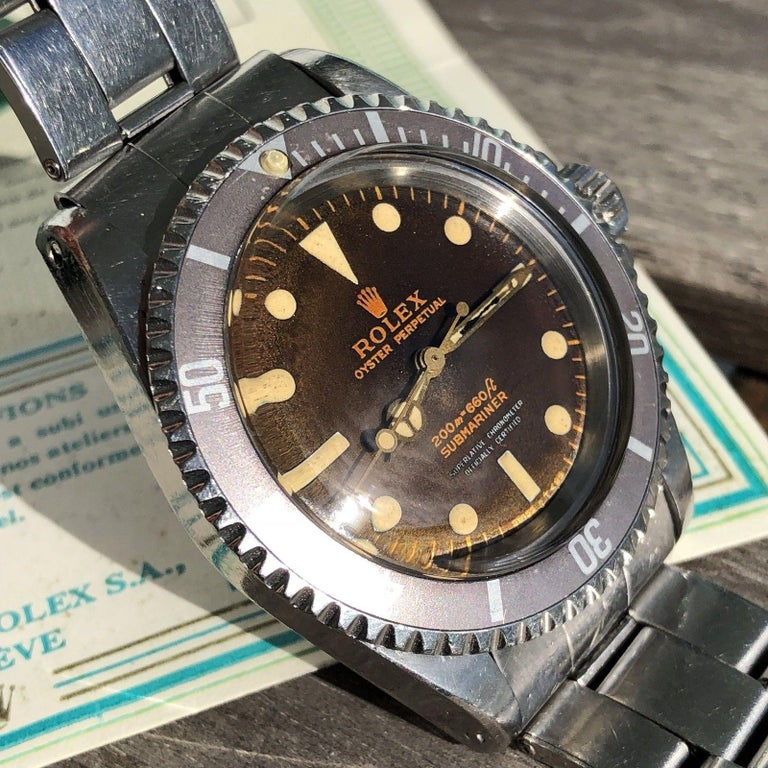 Rolex Submariner 5512 Men's Automatic Vintage Watch Tropical Gilt Dial In Excellent Condition For Sale In Miami, FL