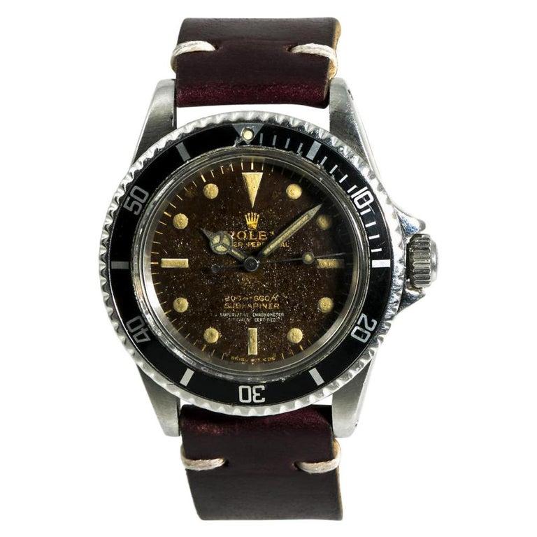 Rolex Submariner 5512 Men's Automatic Vintage Watch Tropical Gilt Dial For Sale