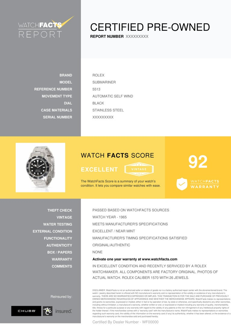 Rolex Submariner Reference #: 5513. Mens Automatic Self Wind Watch Stainless Steel Black 40 MM. Verified and Certified by WatchFacts. 1 year warranty offered by WatchFacts.
