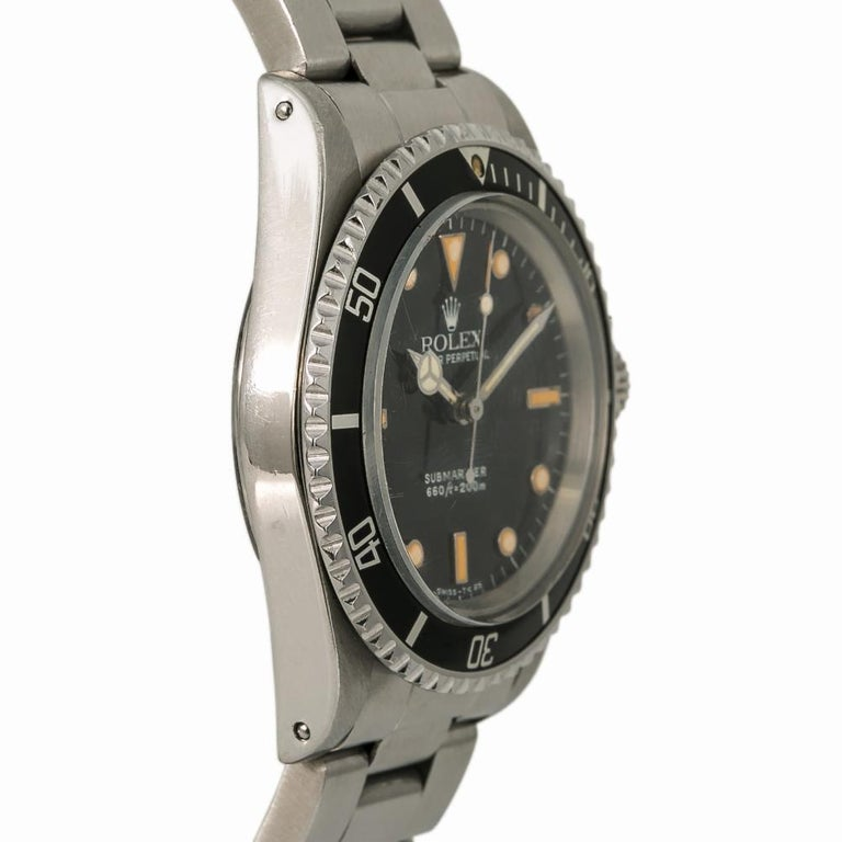Rolex Submariner 5513, Black Dial, Certified and Warranty In Good Condition In Miami, FL