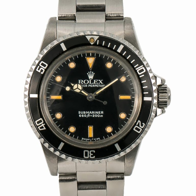 Men's Rolex Submariner 5513, Black Dial, Certified and Warranty