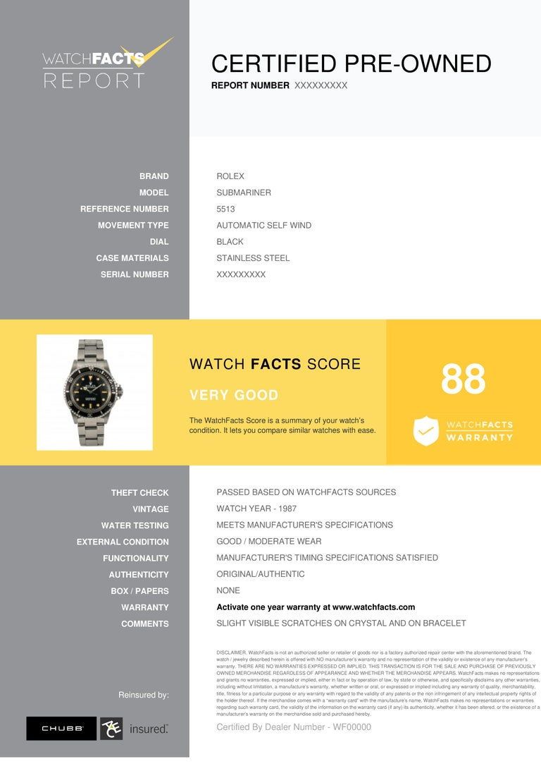 Rolex Submariner Reference #:5513. Rolex Submariner 5513 Vintage Bart Simpson R Serial Men's Automatic Watch 40mm. Verified and Certified by WatchFacts. 1 year warranty offered by WatchFacts.