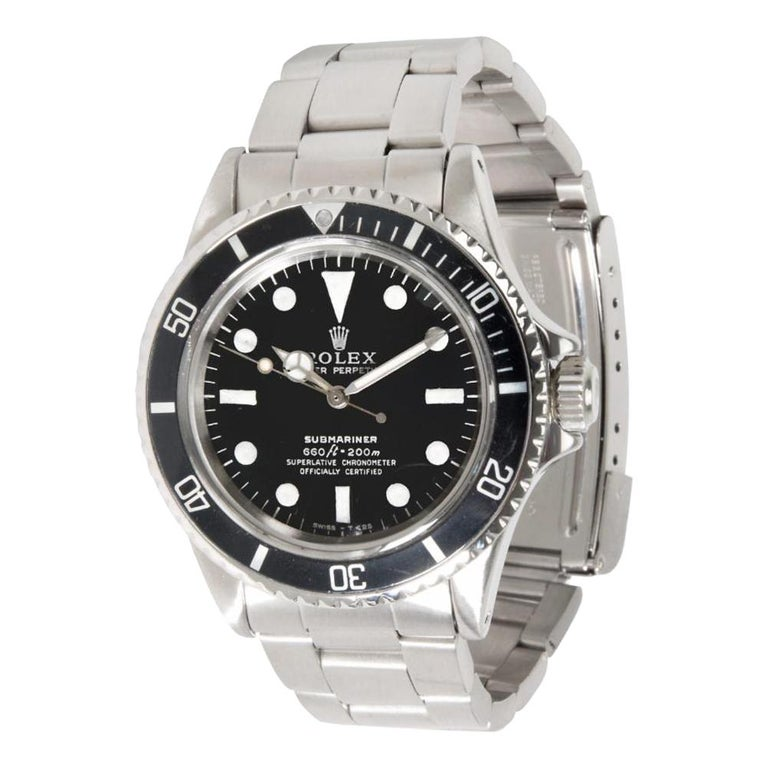 Rolex Submariner 5513, Black Dial, Certified and Warranty For Sale