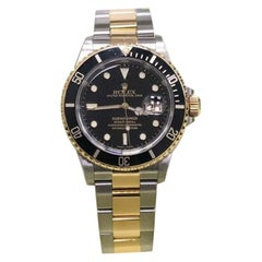 Rolex Submariner Black 16613 18K Yellow Gold & Stainless Steel Box & Papers 2005