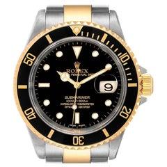 Rolex Submariner Black Dial Bezel Steel Yellow Gold Men's Watch 16613 Box Papers