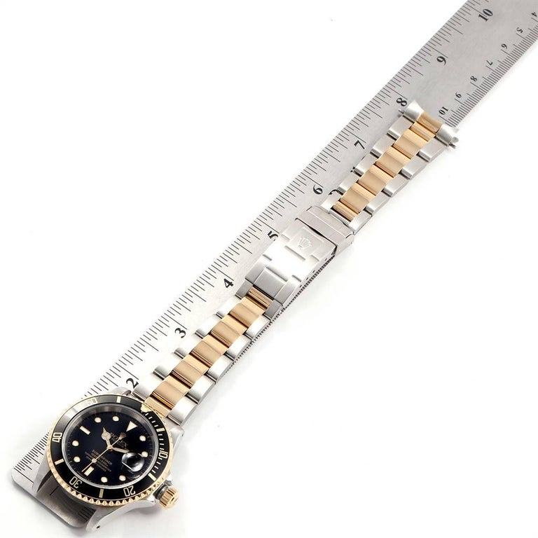 Rolex Submariner Black Dial Bezel Steel Yellow Gold Men's Watch 16613 For Sale 7