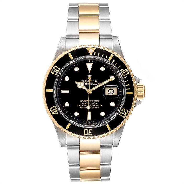 Rolex Submariner Black Dial Bezel Steel Yellow Gold Mens Watch 16613. Officially certified chronometer self-winding movement. Stainless steel and 18k yellow gold case 40 mm in diameter. Rolex logo on a crown. Black insert special time-lapse