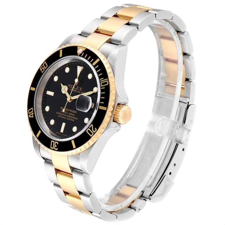 Men's Rolex Submariner Black Dial Bezel Steel Yellow Gold Men's Watch 16613 For Sale