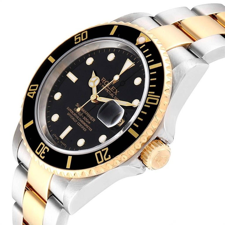 Rolex Submariner Black Dial Bezel Steel Yellow Gold Men's Watch 16613 For Sale 1