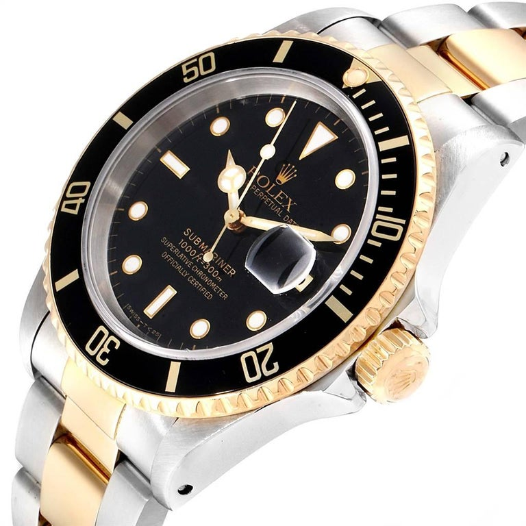 Rolex Submariner Black Dial Bezel Steel Yellow Gold Men's Watch 16613 For Sale 2
