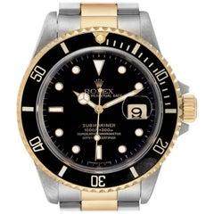 Rolex Submariner Black Dial Bezel Steel Yellow Gold Men's Watch 16613